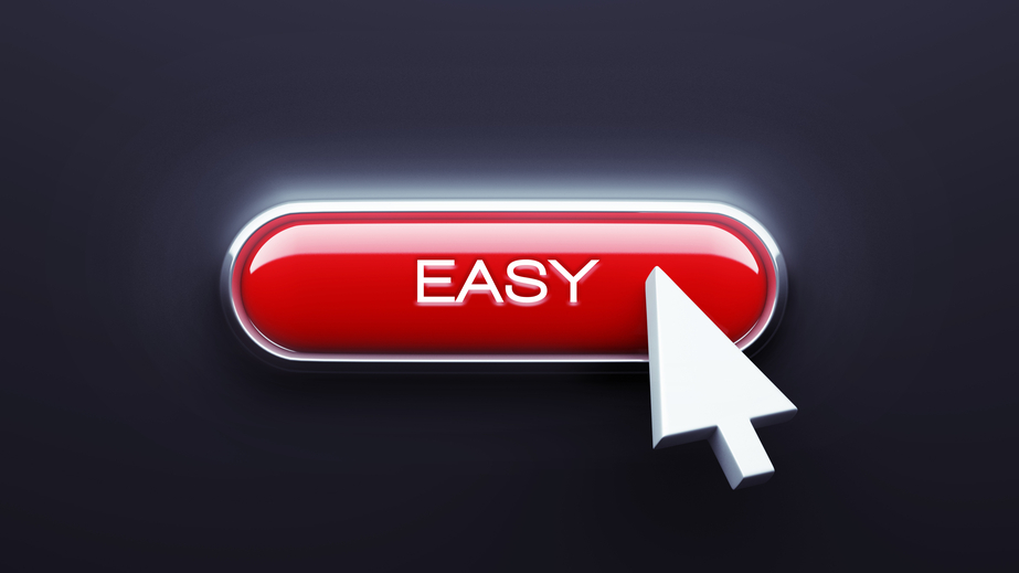 Easy Button isolated on dark background